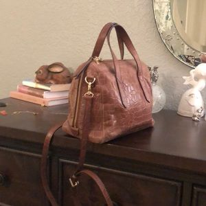 Fossil croc embossed leather purse